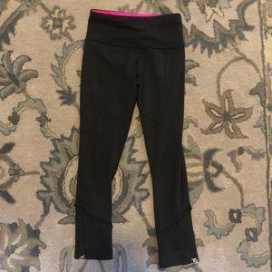 Black Lululemon Leggings with Ruffe Design